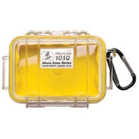 Pelican 1010 Micro Case With Carabiner, Yellow/Clear Lid