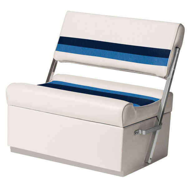 Toonmate Deluxe Pontoon Flip Flop Seat with Toe Kick Base, White