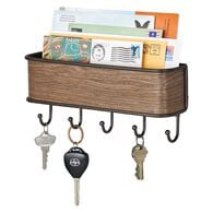 iDesign RealWood Mail Holder and Key Storage Rack