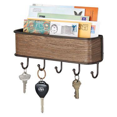 iDesign RealWood Mail Holder and Key Storage Rack