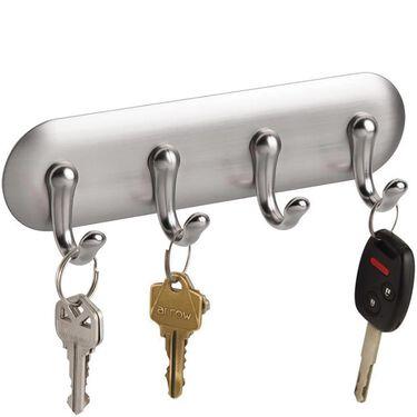 InterDesign AFFIXX 4-Hook Key Storage Rack, Brushed Nickel