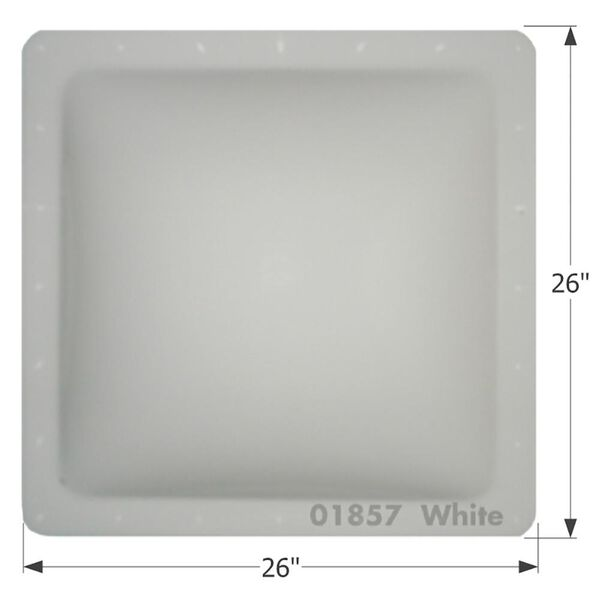 "RV Escape Hatch Lid, Thermoformed Polycarbonate, 26"" x 26"", White"