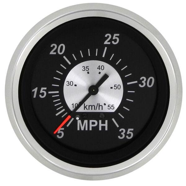 """Sierra Black Sterling 3"""" Speedometer, 35 MPH"""