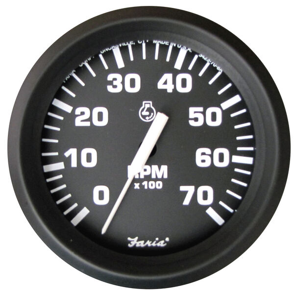 "Faria 4"" Euro Black Series Tachometer, 7,000 RPM Outboard"