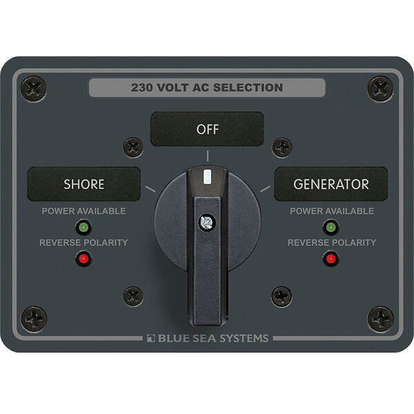 Blue Sea AC Rotary Switch Panel: 230V, 65A, 2 Sources, 2 Poles, 2 Positions+OFF