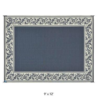 Reversible Classical Design Patio Mat, 9' x 12', Black/Beige