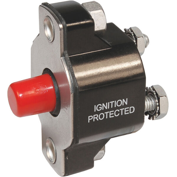Blue Sea Systems Medium-Duty Push-Button Reset-Only Circuit Breaker, 50 Amps