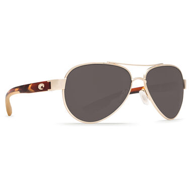 Costa Women's Loreto Polarized Sunglasses, Rose Gold Frame with Gray Lens