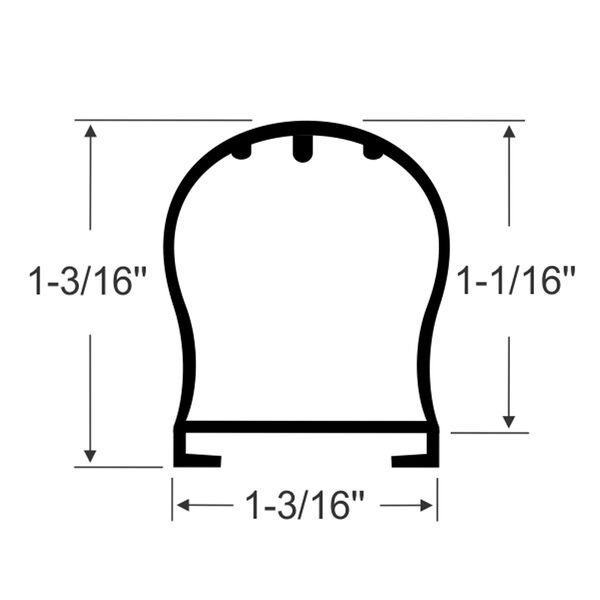"""Steele Rubber Products 1-3/16"""" Bulb Seal with Channel, 15' long"""