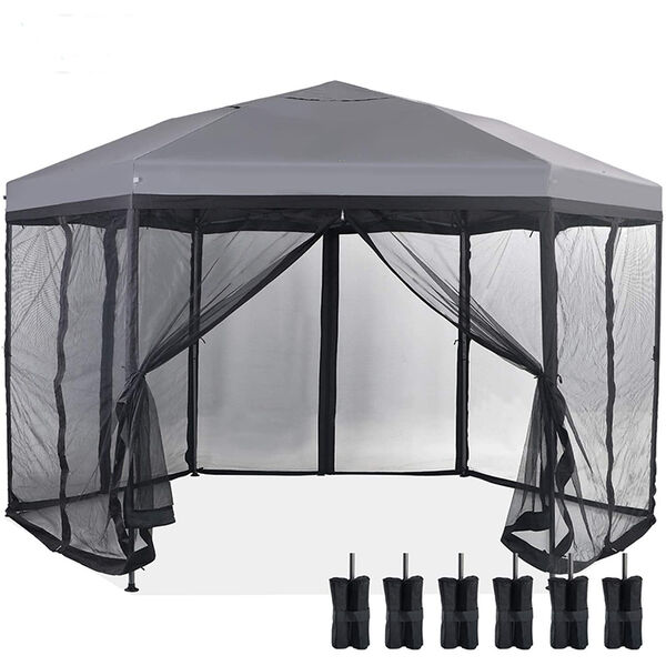 Hexagon Pop Up Gazebo Canopy 12' x 10' Tent with Mesh Sidewalls, Gray