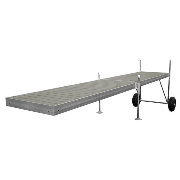 Tommy Docks 20' Roll-In-Dock Straight Aluminum Frame With Composite Removable Decking Complete Dock Package - Ridgeway Gray