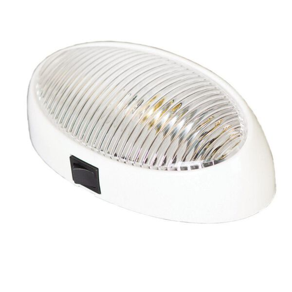RV Porch Light, Oval White with Clear Lens with On/Off Switch