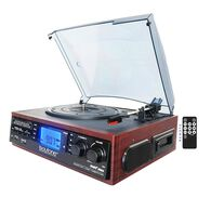 6-in-1 Turntable with Cassette, Mahogany