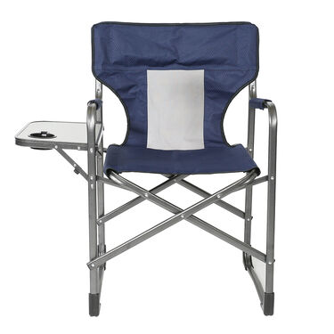 Mesh Director's Chair with Side Table, Navy Blue