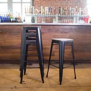 AmeriHome Loft Bar Stool, Wood Seat, Set of 4, Gunmetal