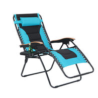 Padded Zero Gravity Chair XL with Wooden Pattern Armrest, Aqua