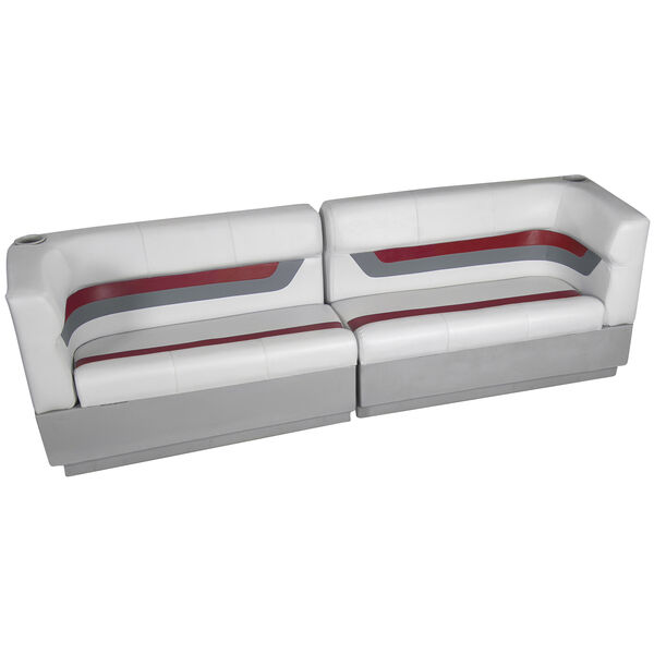 Designer Pontoon Furniture - Traditional Rear Package, Sky Gray/Dark Red