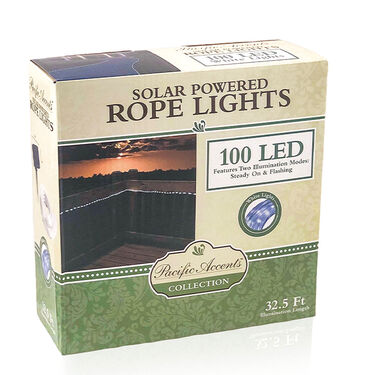 Flipo White 100-LED Solar Rope Lighting, 33'