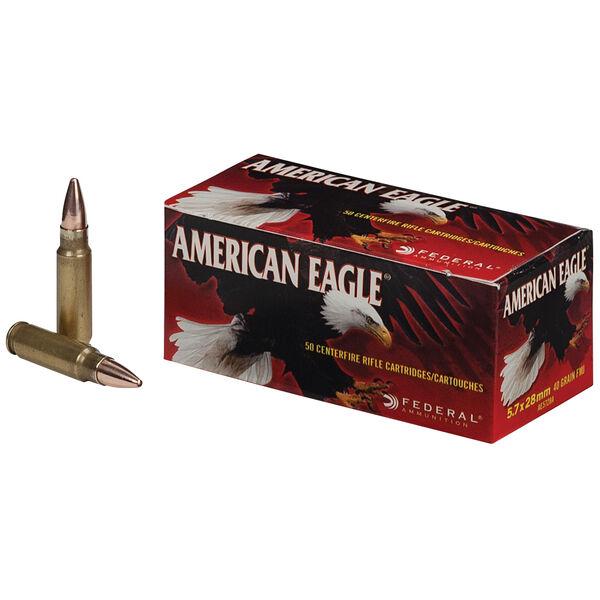 American Eagle Rifle Ammunition, 5.7x28mm, 40-gr., TMJ, 20Rds