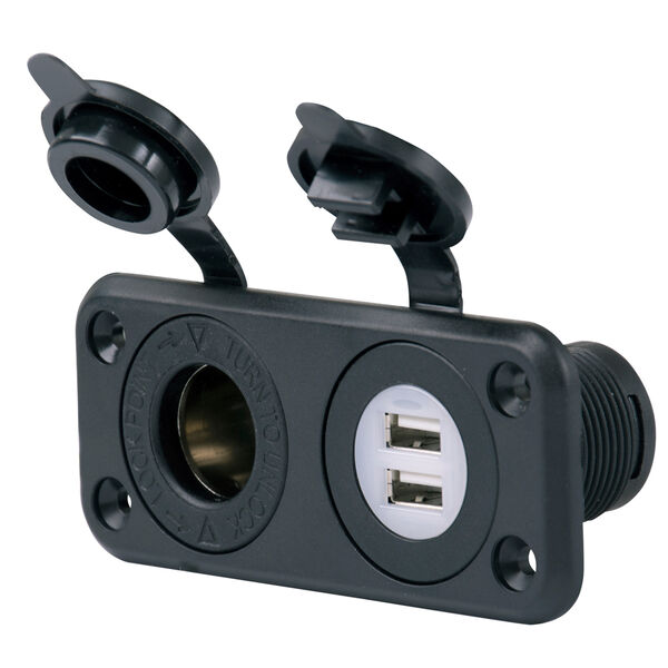 Marinco SeaLink Deluxe Dual USB Charger And 12V Receptacle