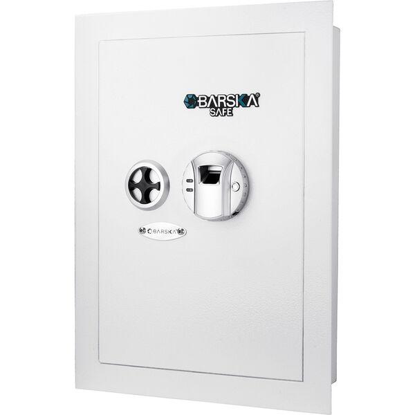 Barska White Biometric Wall Safe, Right Opening