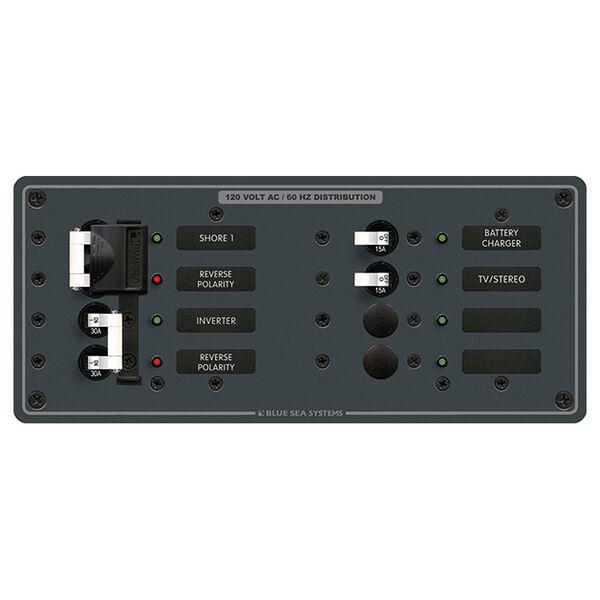 Blue Sea 120V AC Circuit Breaker Panel, 2 (30A) Sources + 4 Positions