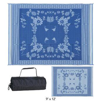 Reversible Floral Design Patio Mat, 9' x 12', Blue/White