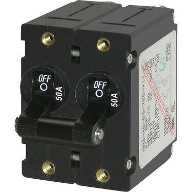 Blue Sea AC Circuit Breaker A-Series Toggle Switch, Double Pole, 50A, Black