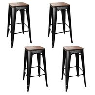 AmeriHome Loft Bar Stool, Wood Seat, Set of 4, Gunmetal