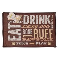 Dog Day Expressions Design Pet Food & Water Bowl Mat, 12.75'' x 19'', Brown