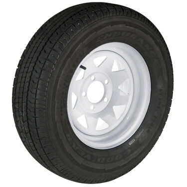 Goodyear Endurance ST215/75 R 14 Radial Trailer Tire, 5-Lug White Spoke Rim