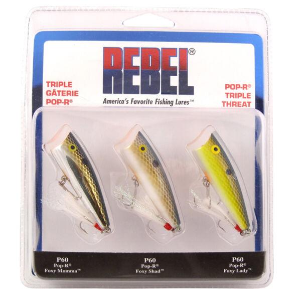 Rebel Pop-R Triple Threat Topwater Bait Kit