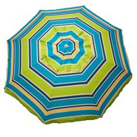 Lime Striped Beach Umbrella with Travel Bag, 7'