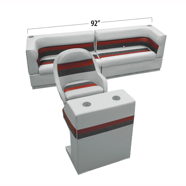 Deluxe Pontoon Furniture w/Toe Kick Base - Rear Traditional Package, Gray/Red/Ch