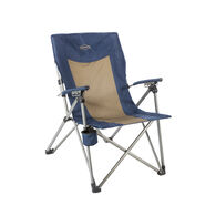 3 Position Hard Arm Reclining Chair, Tan and Navy