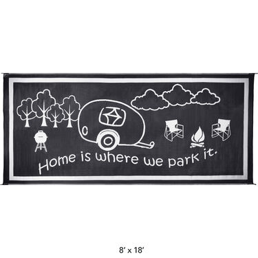 Dog Paw Bone Design Patio Mat, 9' x 9', Black/White