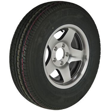 Trailer King II ST205/75 R 14 Radial Trailer Tire, 5-Lug Aluminum Black Star Rim