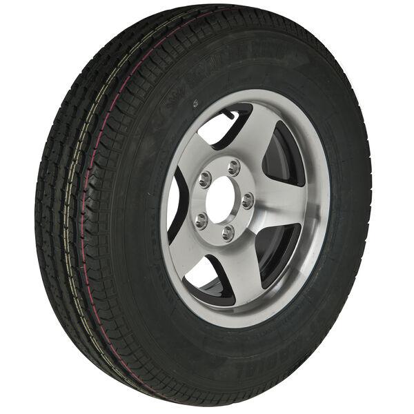 Trailer King II ST215/75 R 14 Radial Trailer Tire, 5-Lug Aluminum Black Star Rim