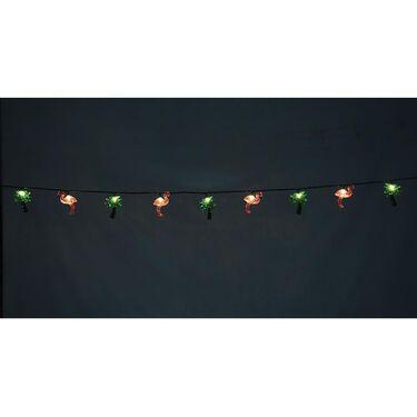 Flamingo & Palm Tree Mini Light Set, 10 Lights, 8 1/2' Cord