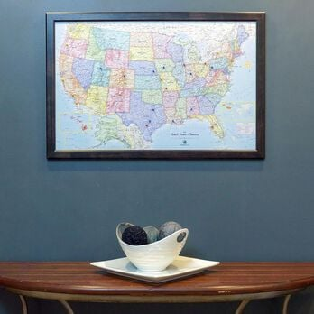 Magnetic Travel Map USA, Blue Ocean, 36x24