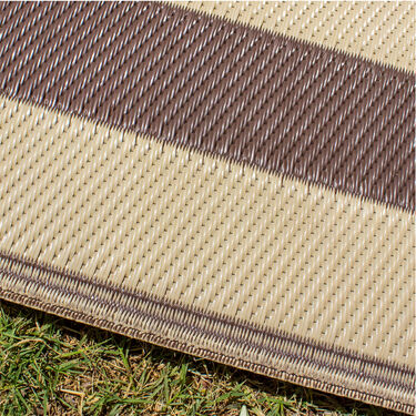 """Reversible """"Home Is Where We Park It""""; Patio Mat, 8' x 11', Brown/Beige"""