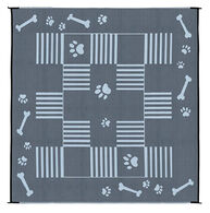 Reversible Dog Paw Bone Design Patio Mat, 9' x 9', Black/White