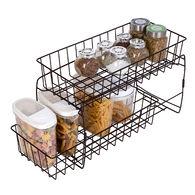 Smart Design 2-Tier Stackable Pull-Out Baskets, Black
