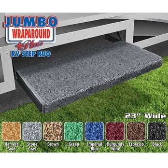 "Prest-O-Fit Jumbo Wraparound Plus RV Step Rug, 23"", Stone Gray"