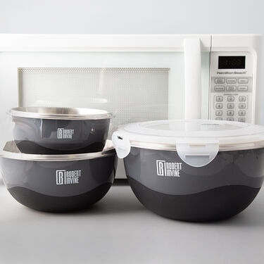 Robert Irvine 6-Piece Microwave-Safe Mixing Bowl and Lid Set, Black