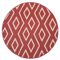 Reversible 7' Round Tribal Design Patio Mat, wine/tan