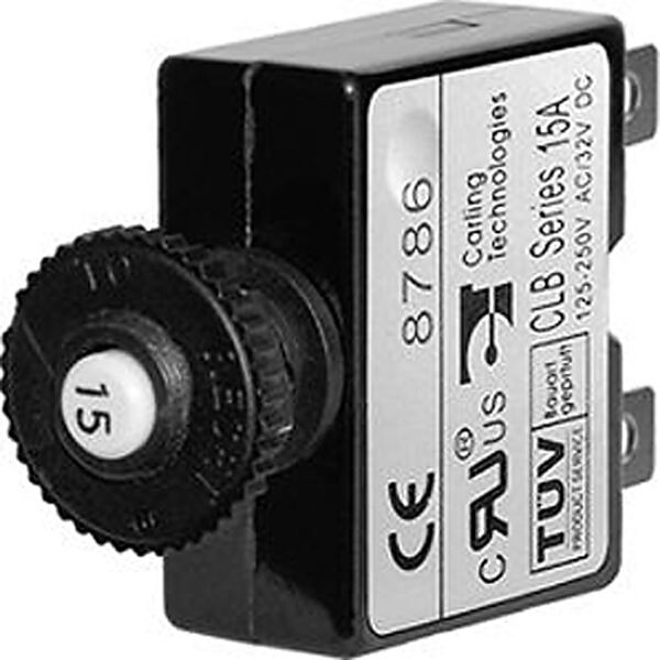 Blue Sea Push-Button Reset-Only Quick-Connect Thermal DC Circuit Breaker, 15A
