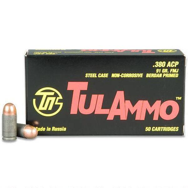 TulAmmo Handgun Ammunition, .380 ACP, 91-gr., FMJ