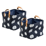 Honey Can Do Coastal Collection Canvas Scribble Totes, Set of 2