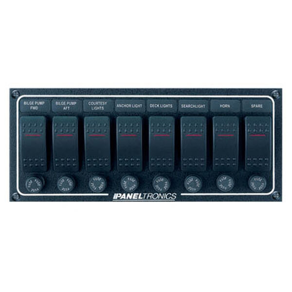 Paneltronics Waterproof Contura Switch Panel - 8-Switch Horizontal